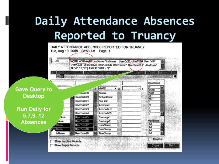 Daily Attendance Absences Reported to Truancy
