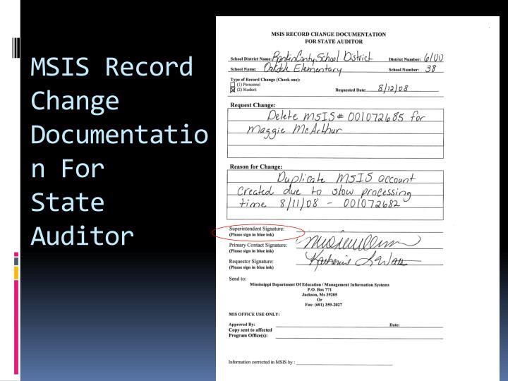 MSIS Record Change