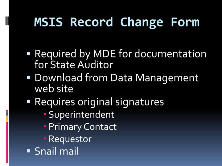MSIS Record Change Form