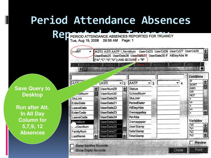 Period Attendance Absences Reported to Truancy