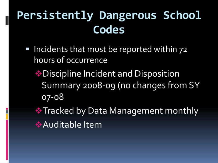 Persistently Dangerous School Codes