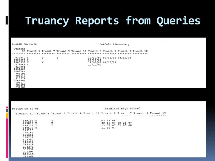Truancy Reports from Queries