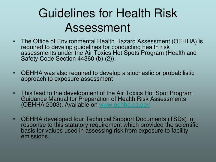 Guidelines for Health Risk Assessment