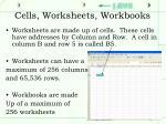 cells worksheets workbooks