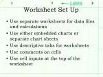 worksheet set up