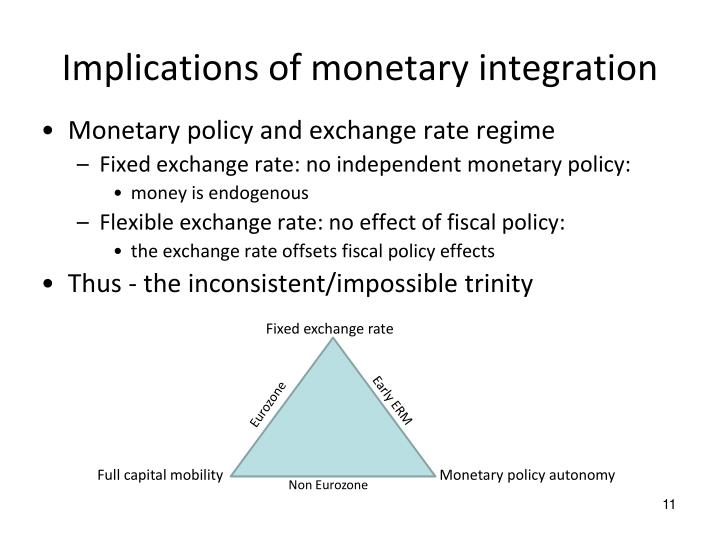 Implications of monetary integration