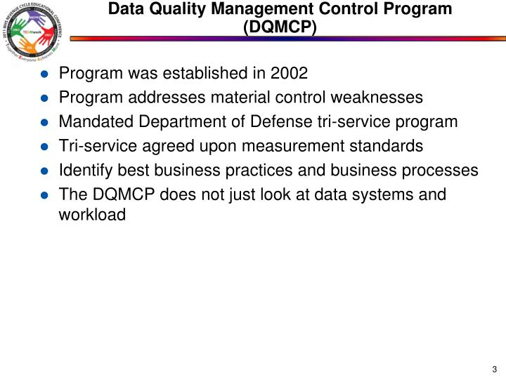 Data quality management control program dqmcp