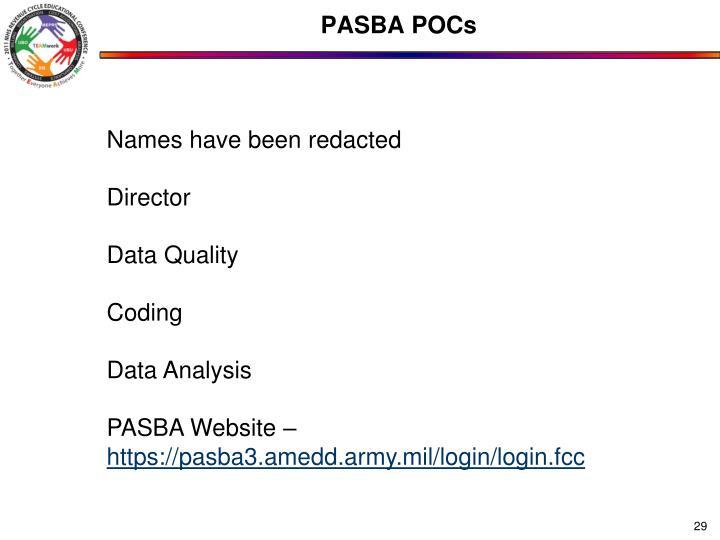 PASBA POCs