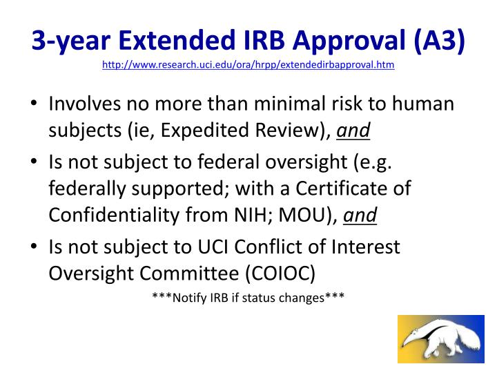 3-year Extended IRB Approval (A3)
