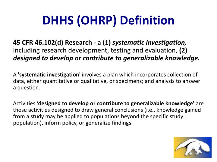Dhhs ohrp definition