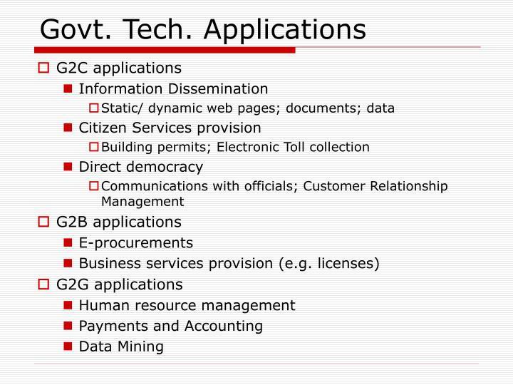Govt. Tech. Applications
