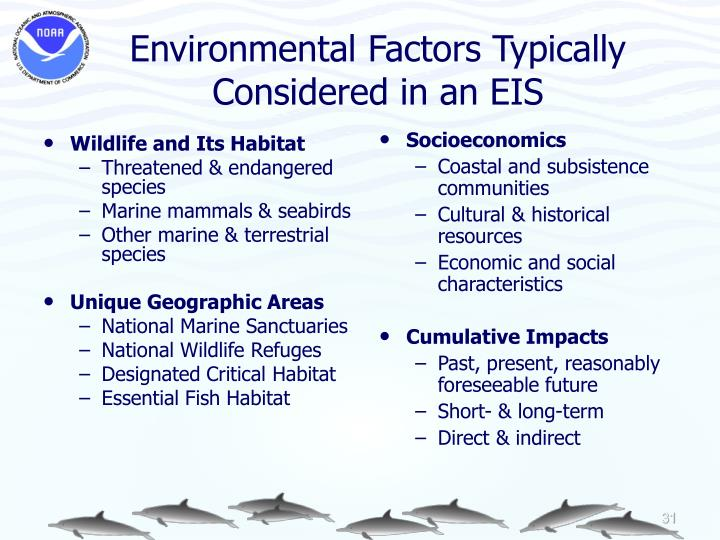 Environmental Factors Typically Considered in an EIS