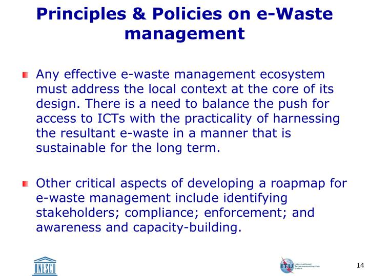 Principles & Policies on e-Waste management