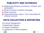 publicity and outreach