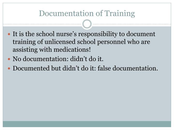Documentation of Training
