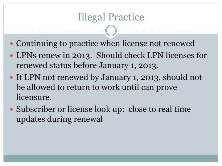Illegal Practice