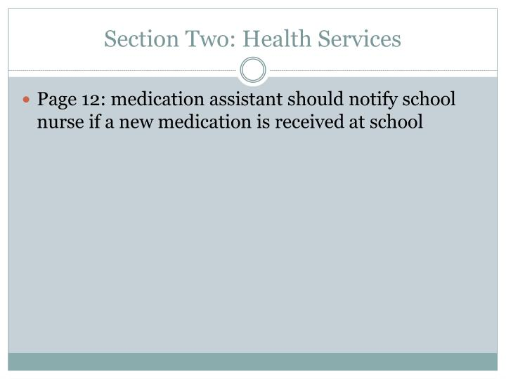 Section Two: Health Services