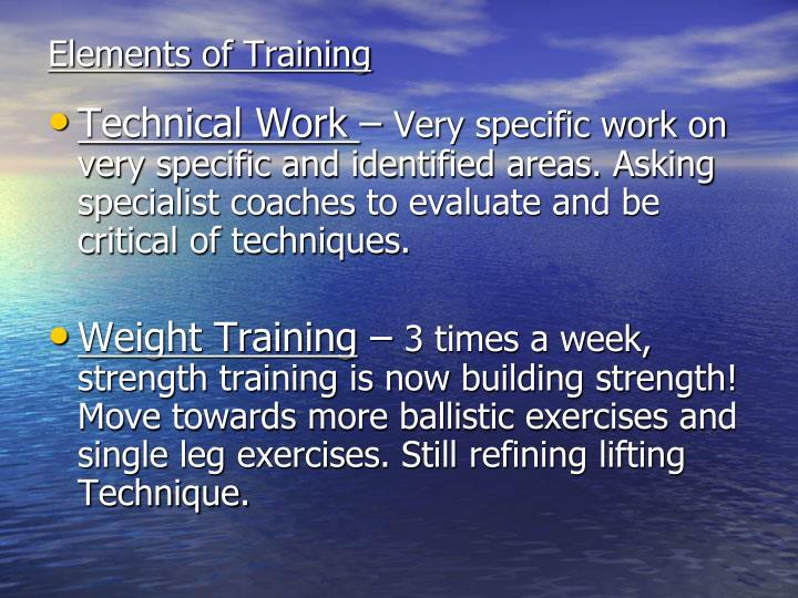 Elements of Training