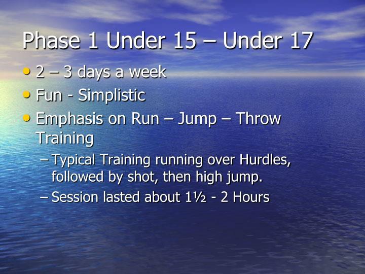 Phase 1 Under 15 – Under 17