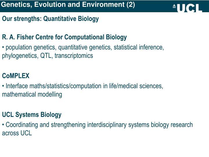Genetics, Evolution and Environment (2)