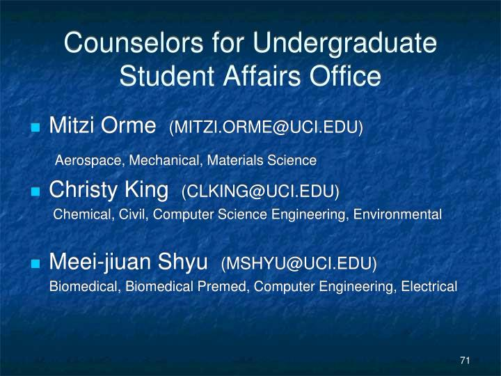Counselors for Undergraduate Student Affairs Office