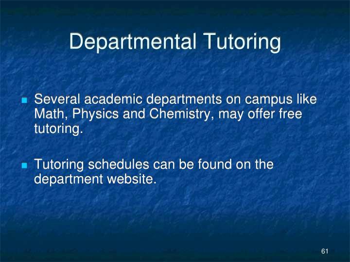 Departmental Tutoring