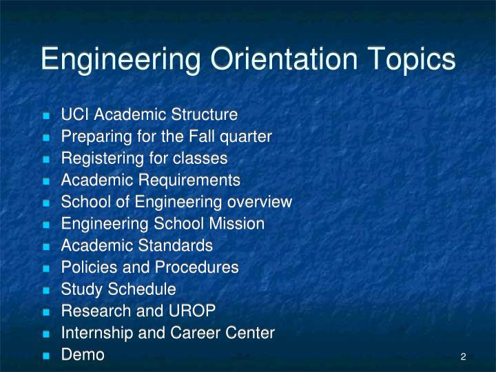 Engineering Orientation Topics
