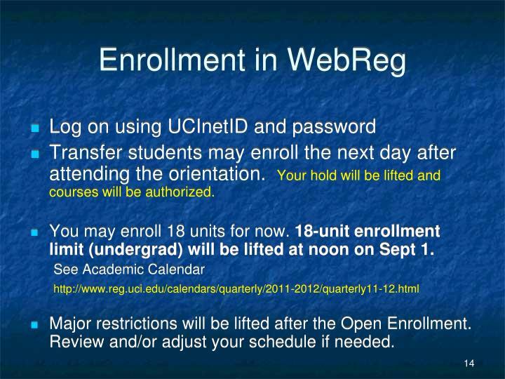 Enrollment in WebReg