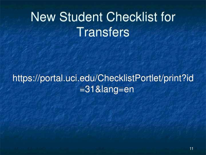 New Student Checklist for Transfers