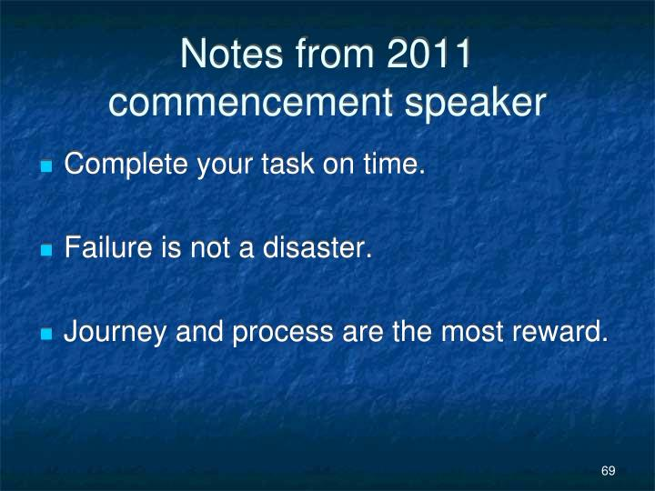 Notes from 2011 commencement speaker