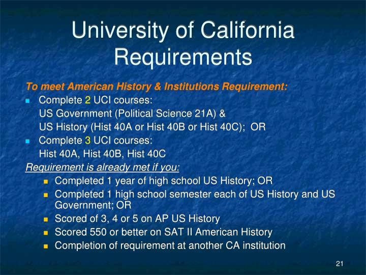 University of California Requirements