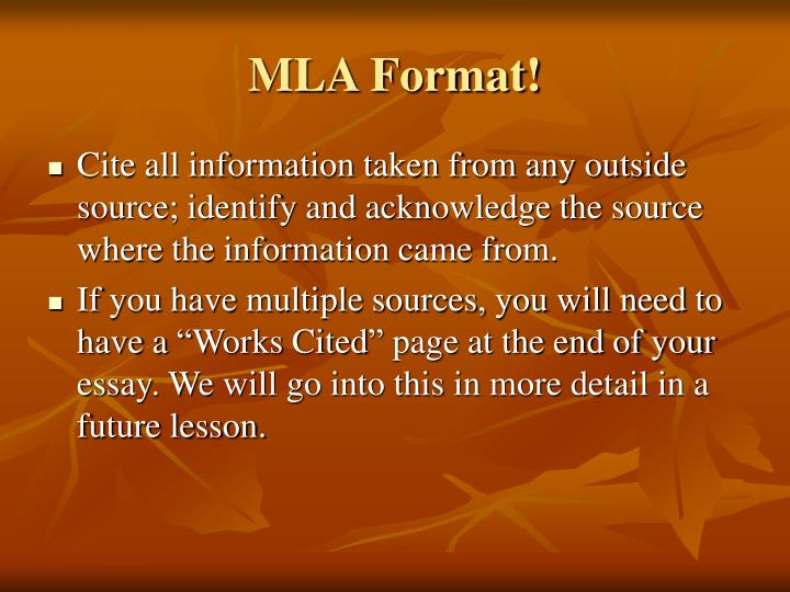 MLA Format!