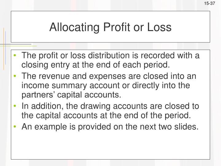 Allocating Profit or Loss