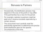 bonuses to partners
