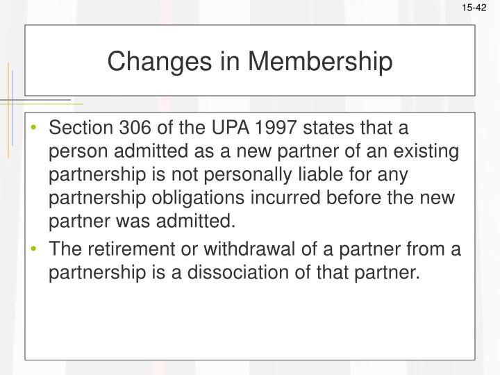 Changes in Membership