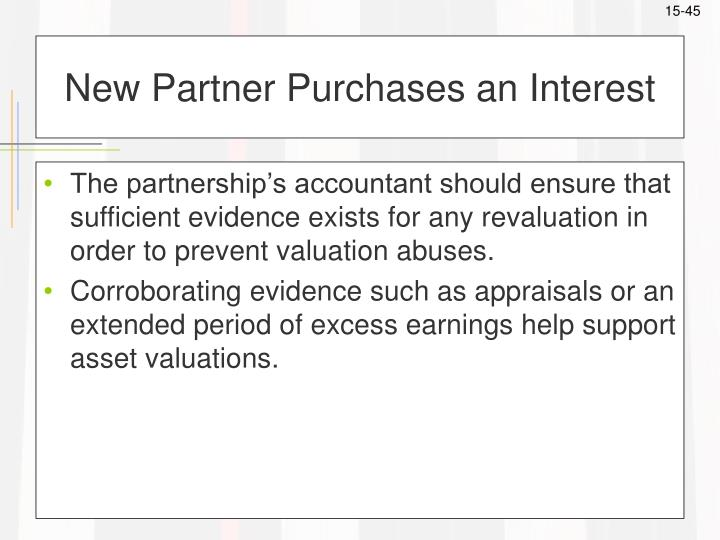 New Partner Purchases an Interest