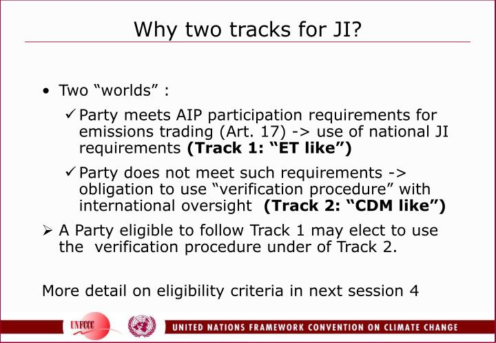 Why two tracks for JI?