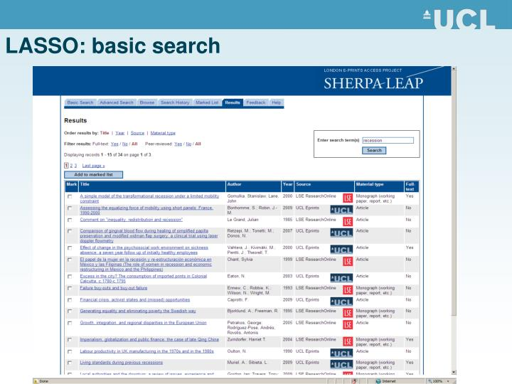 LASSO: basic search