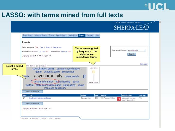 LASSO: with terms mined from full texts