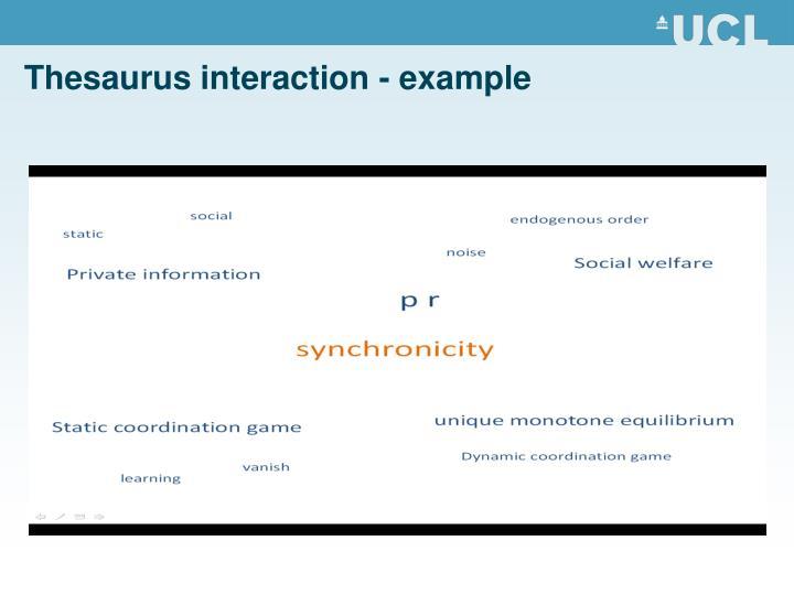 Thesaurus interaction - example
