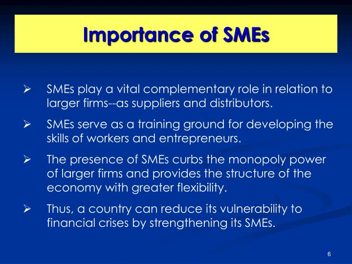 SMEs play a vital complementary role in relation to larger firms--as suppliers and distributors.