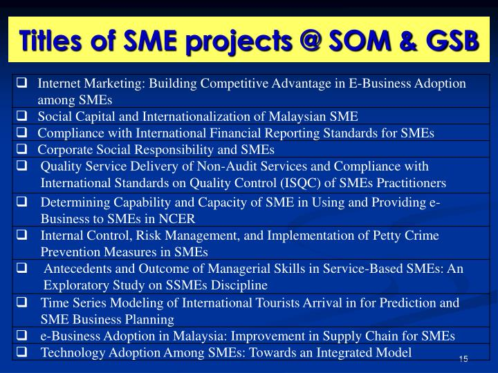 Titles of SME projects @ SOM & GSB