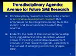 transdisciplinary agenda avenue for future sme research