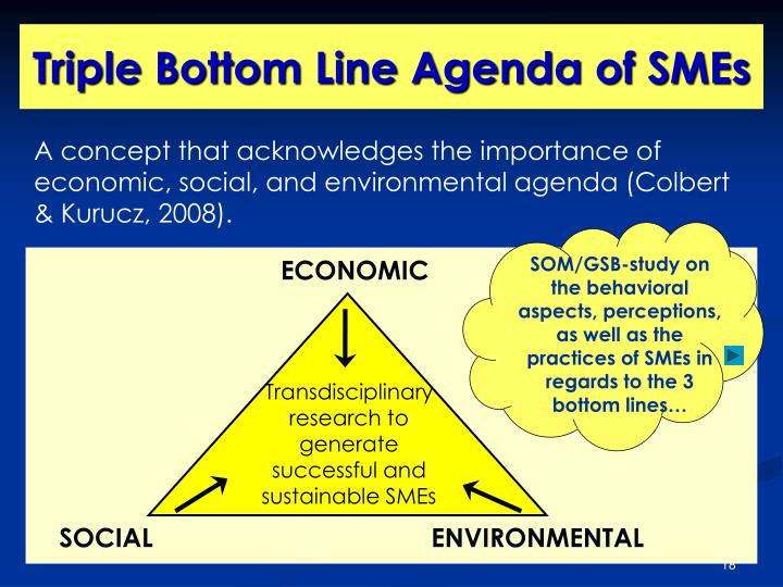 A concept that acknowledges the importance of economic, social, and environmental agenda (Colbert & Kurucz, 2008).