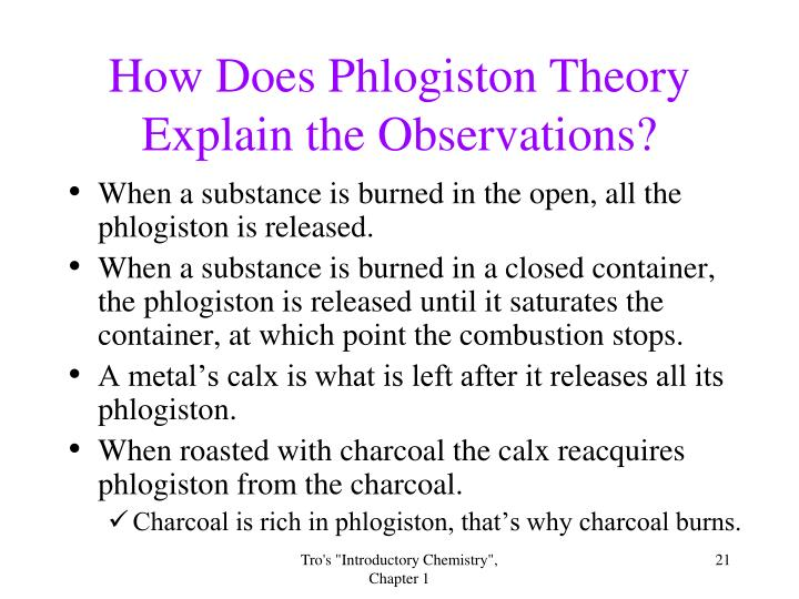 How Does Phlogiston Theory Explain the Observations?