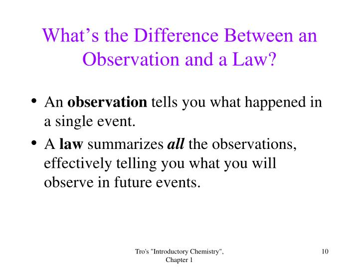 What's the Difference Between an Observation and a Law?