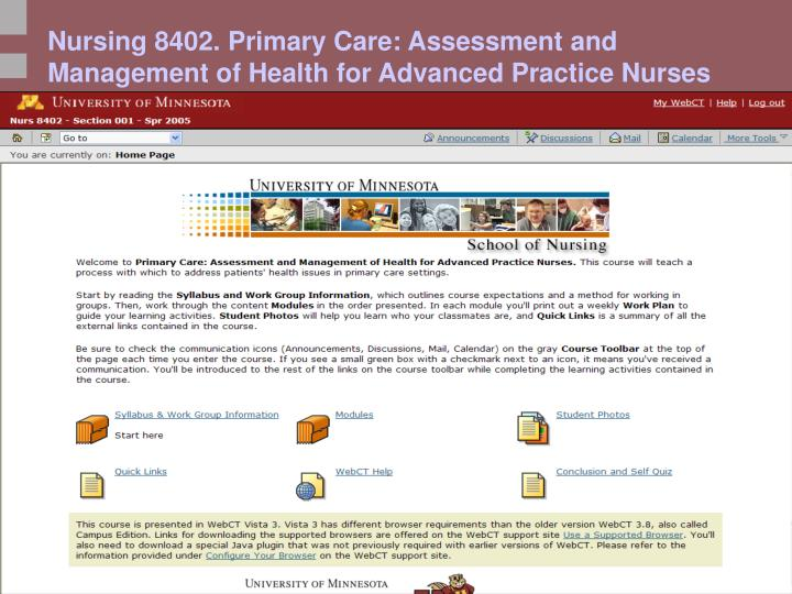 Nursing 8402. Primary Care: Assessment and Management of Health for Advanced Practice Nurses