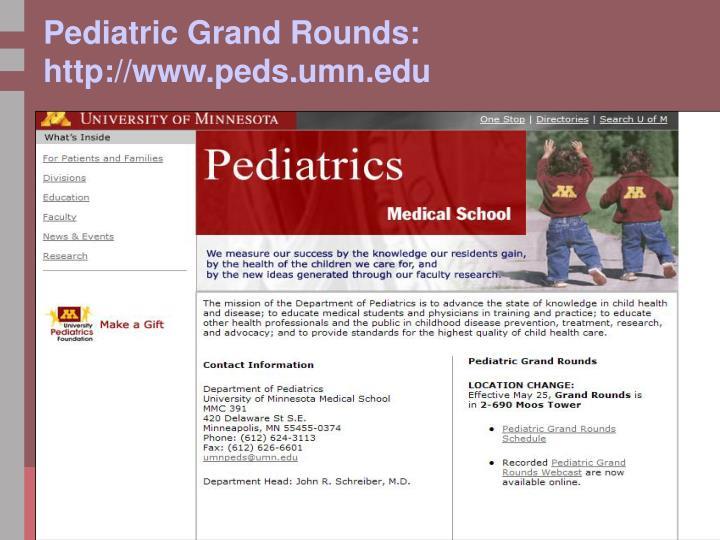 Pediatric Grand Rounds:
