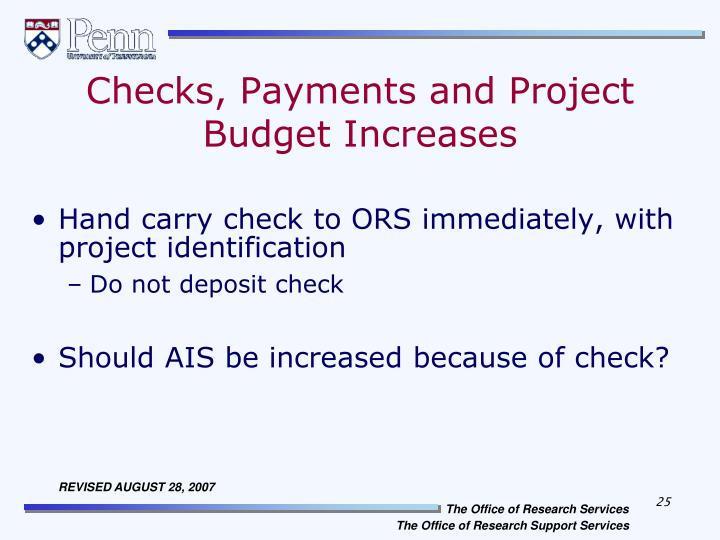Checks, Payments and Project Budget Increases