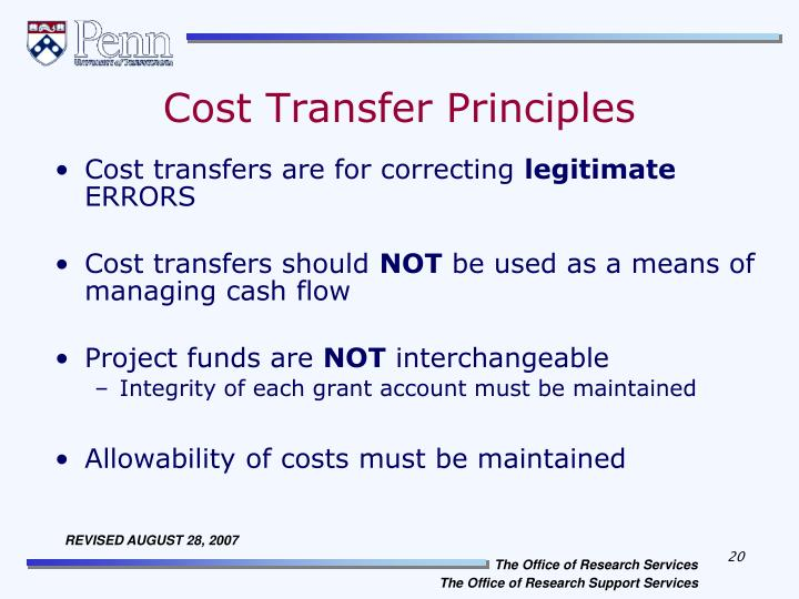 Cost Transfer Principles